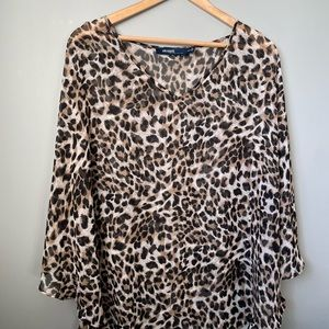 Eloquii by the limited 22/24 sheer cheetah cover up plus size short sleeve